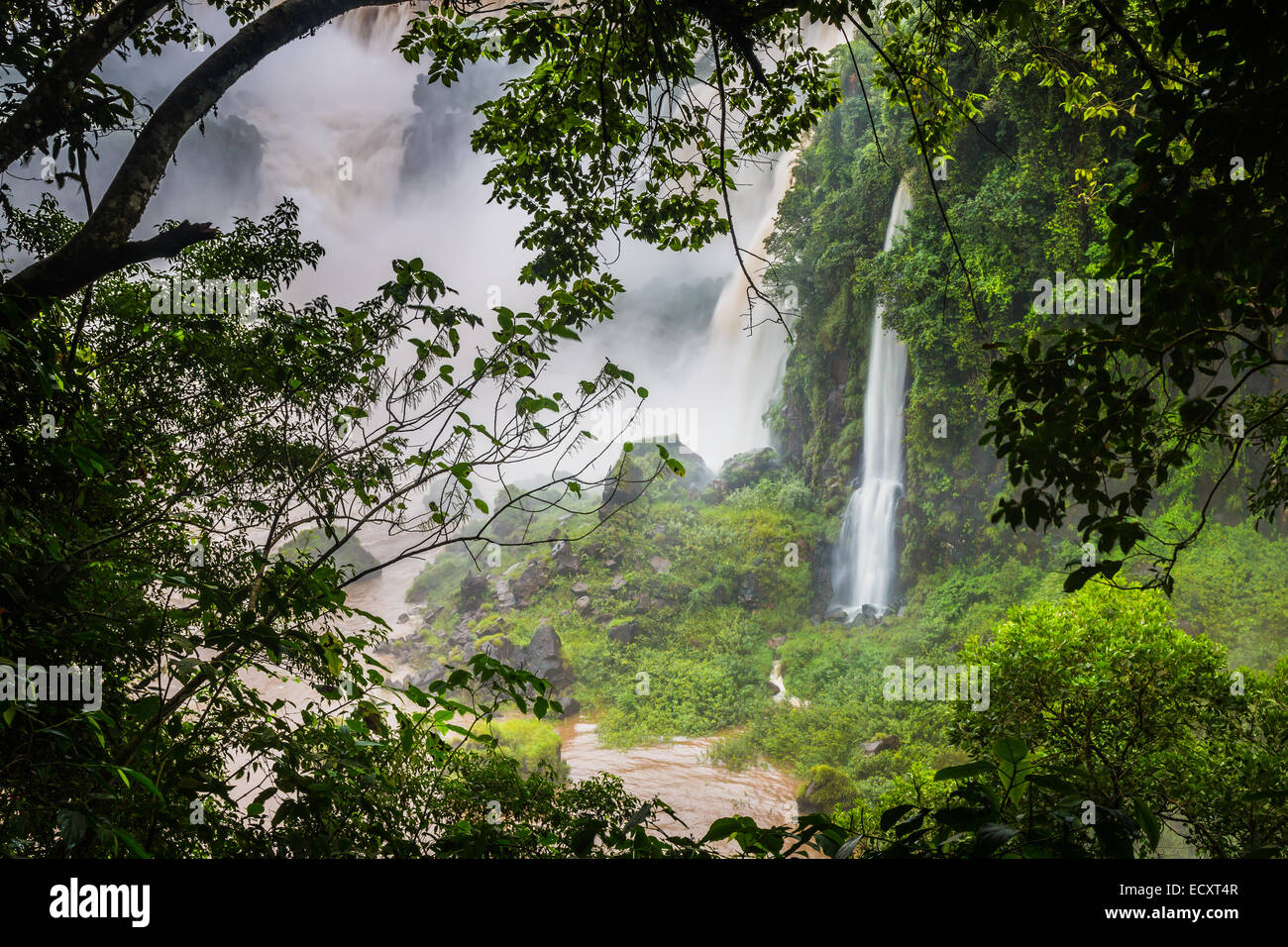 Iguazu Falls are waterfalls of the Iguazu River on the border of Argentina and Brazil - Stock Image