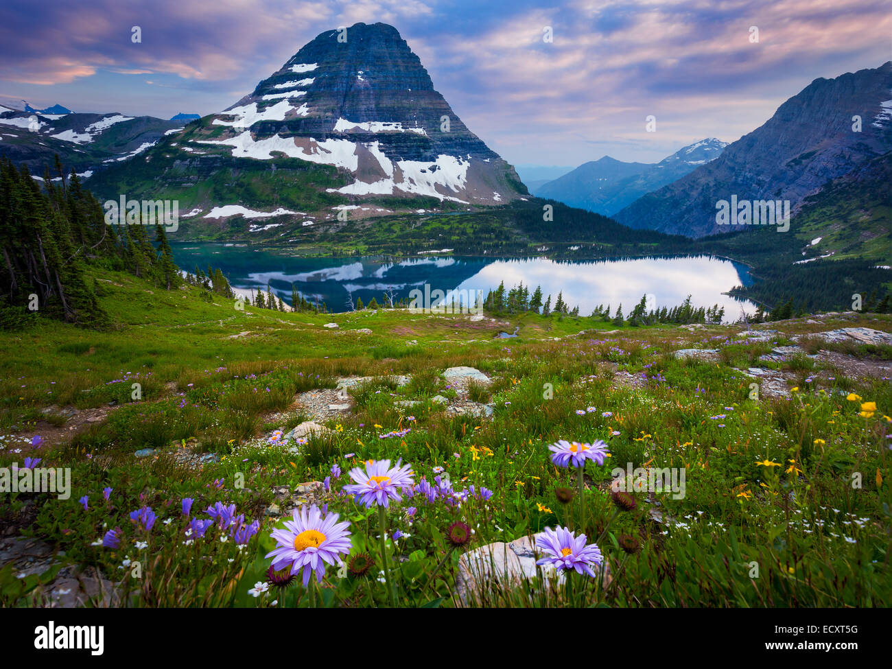 Hidden Lake is located in Glacier National Park, in the U. S. state of Montana. Stock Photo