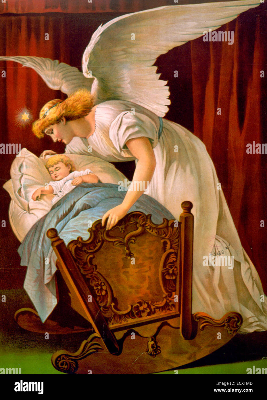 The angel's whisper -  Angel watching over baby sleeping in cradle, circa 1894 - Stock Image