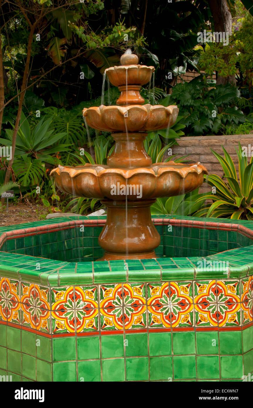 Fountain in Mexican Garden, San Diego Botanic Garden, Encinitas ...