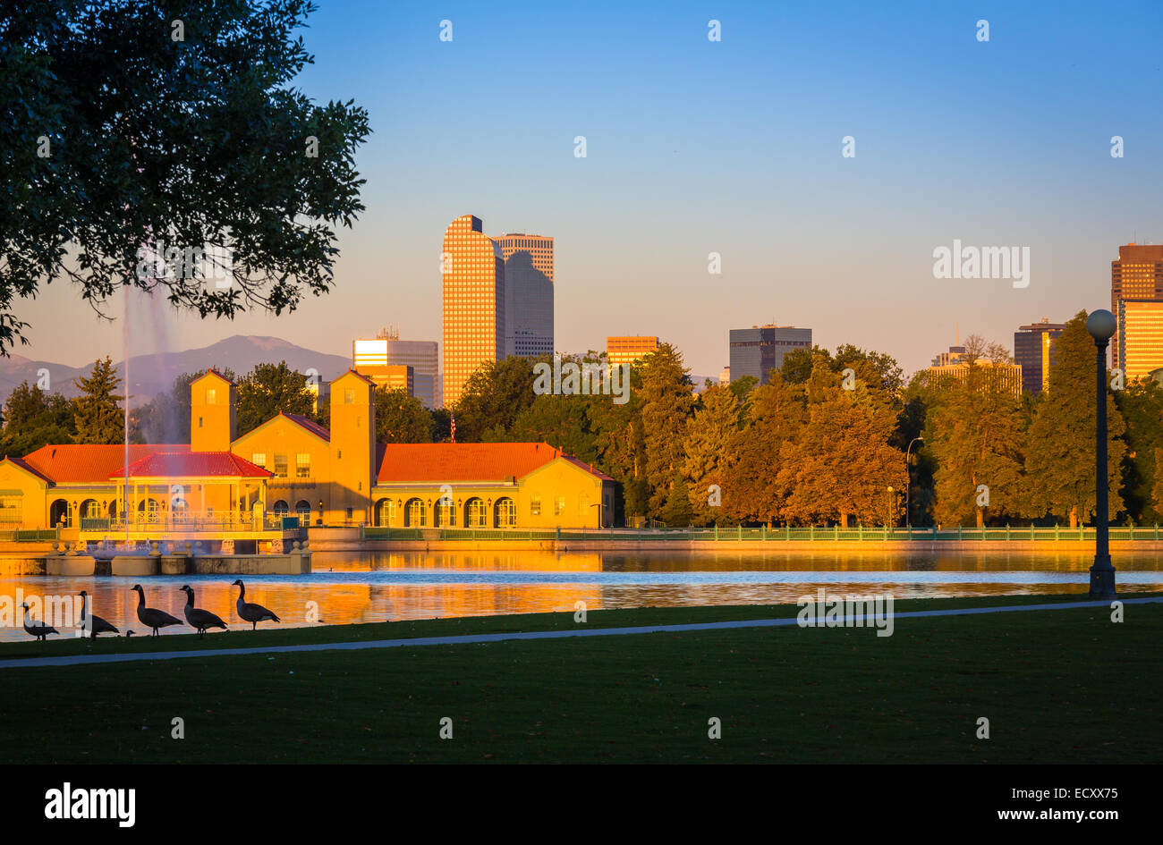 Denver is the largest city and capital of the State of Colorado. It seen here from City Park. - Stock Image