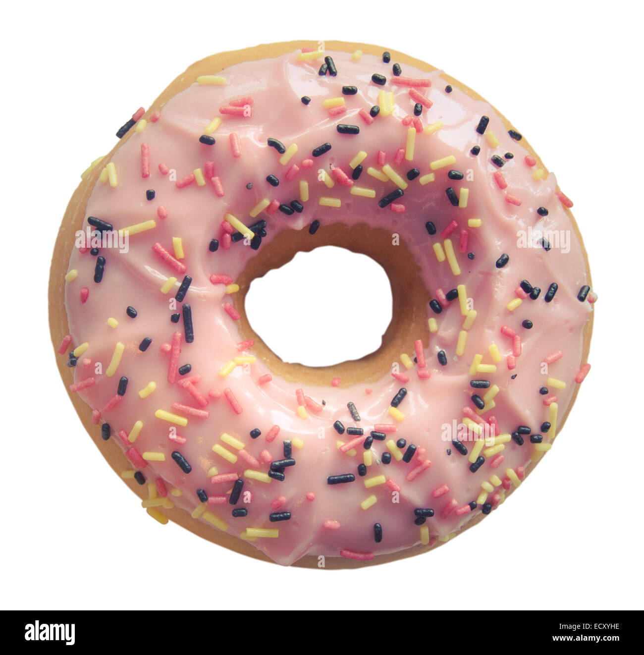Isolated Pink Donut With Sprinkles - Stock Image