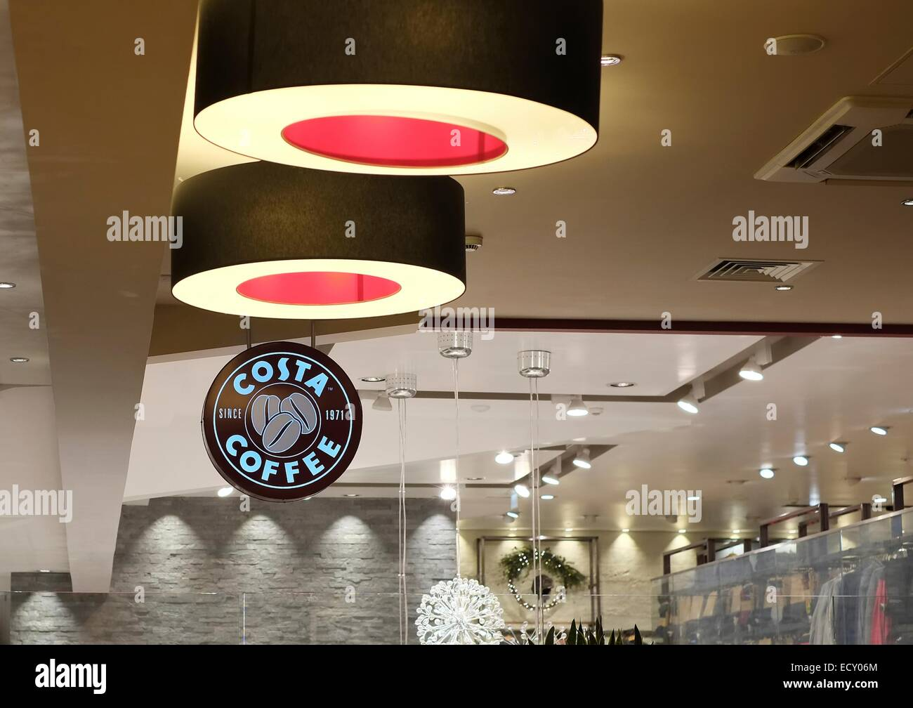 Costa Coffee Shop Interior Building Decor Stock Photo