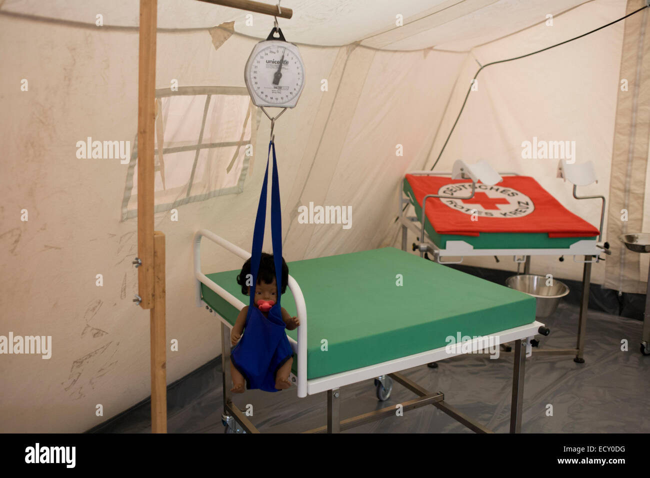 Maternity tent mock-up in emergency supplies warehouse, Deutsches Rotes Kreuz (DRK - German Red Cross) at their - Stock Image