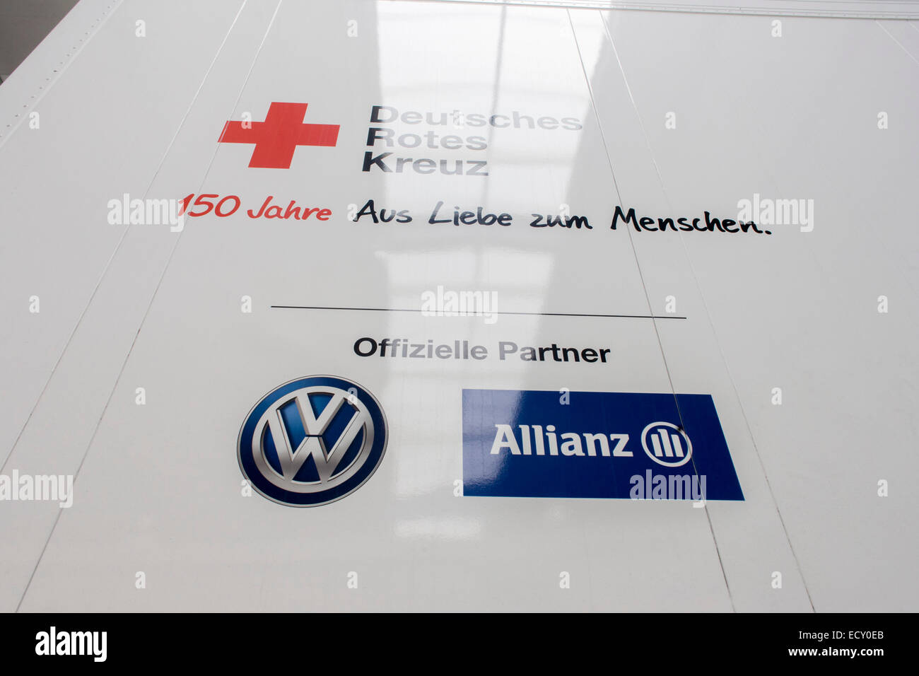 Deutsches Rotes Kreuz - DRK (German Red Cross) vehicle logos at their logistics centre at Berlin-Schönefeld - Stock Image
