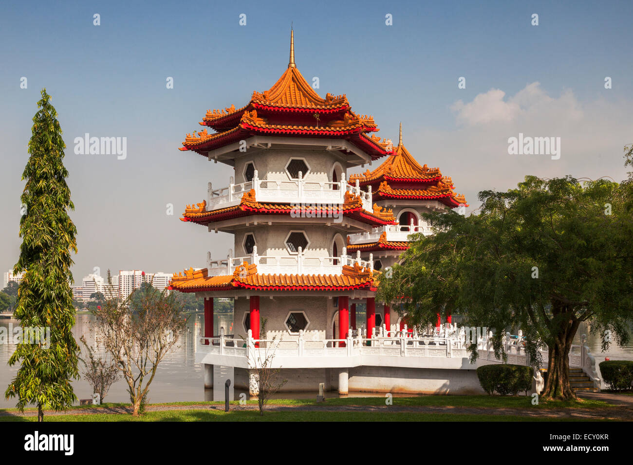 The Twin Pagodas on Jurong Lake, in the Chinese Garden, Singapore. - Stock Image