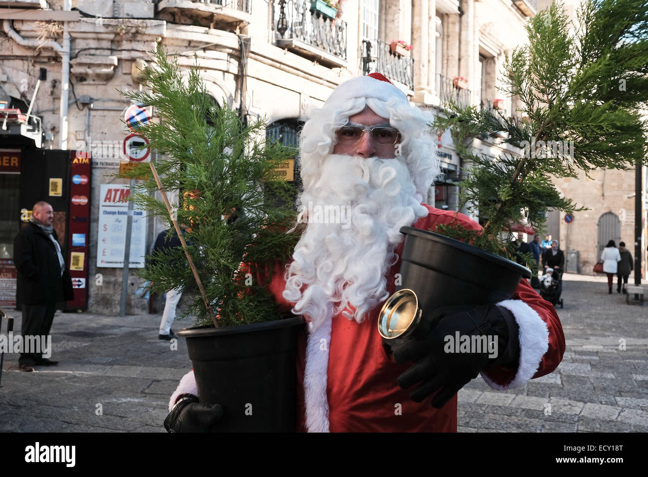 In Which Language Is Christmas Called Noel.Jerusalem Christmas Santa Claus Stock Photos Jerusalem Christmas