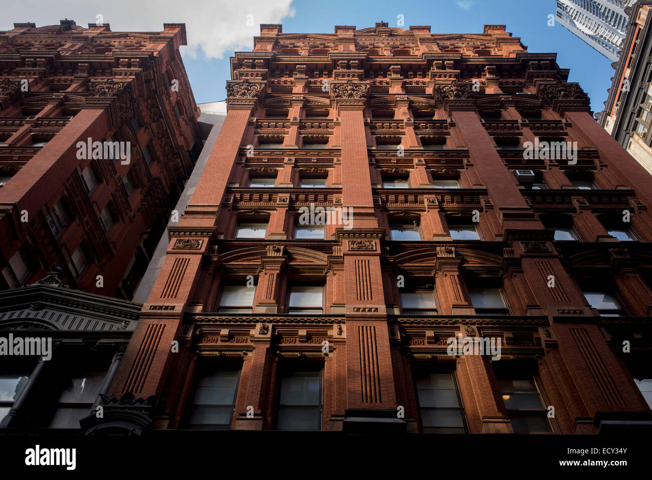 Captivating Red Brick Apartment Building In Manhattan, New York City.   Stock Image