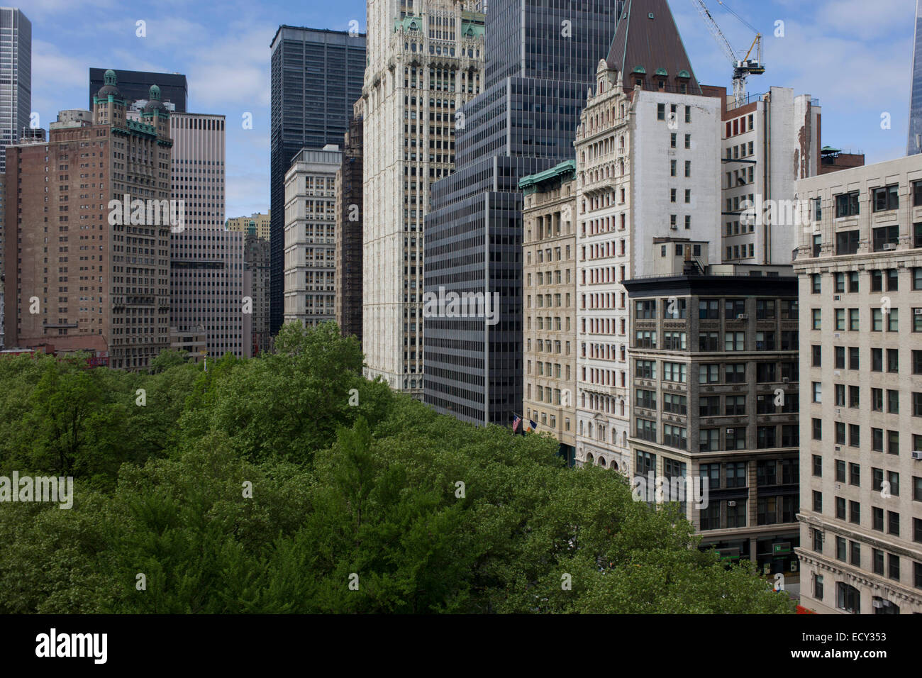 Wide cityscape of skyscrapers looking across Broadway in Manhattan, New York City. - Stock Image