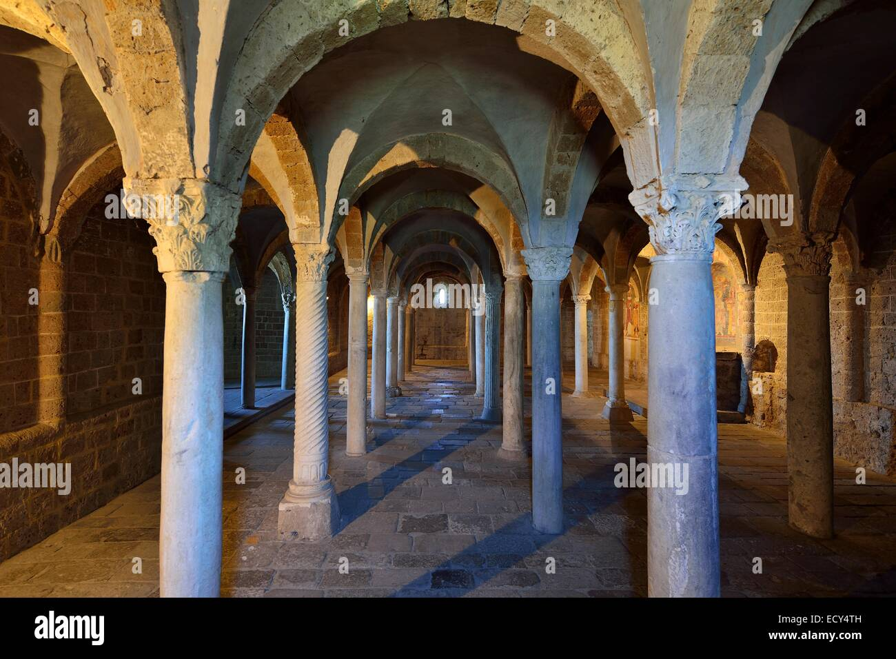 Hall crypt with ancient reused columns in the Basilica of San Pietro, Tuscania, Viterbo, Lazio, Ital - Stock Image