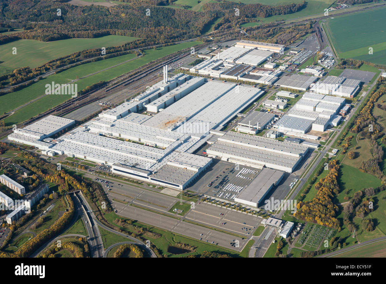 Aerial view, Volkswagen Mosel-Zwickau factory, founded in 1990, Zwickau, Saxony, Germany - Stock Image