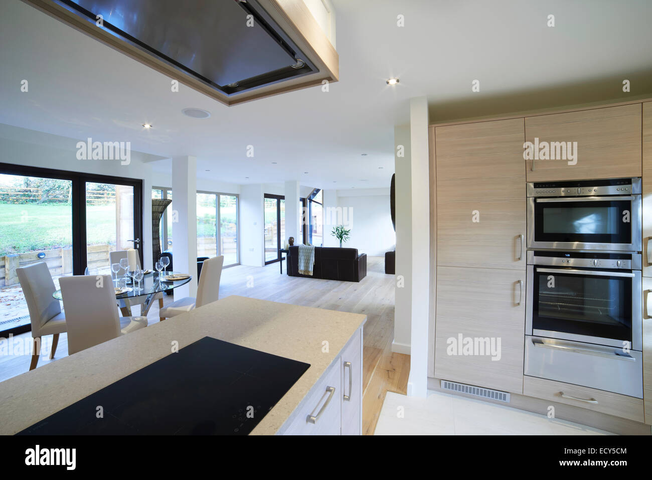 Interior View Of Beautiful Luxury Dining Room And Kitchen - Stock Image