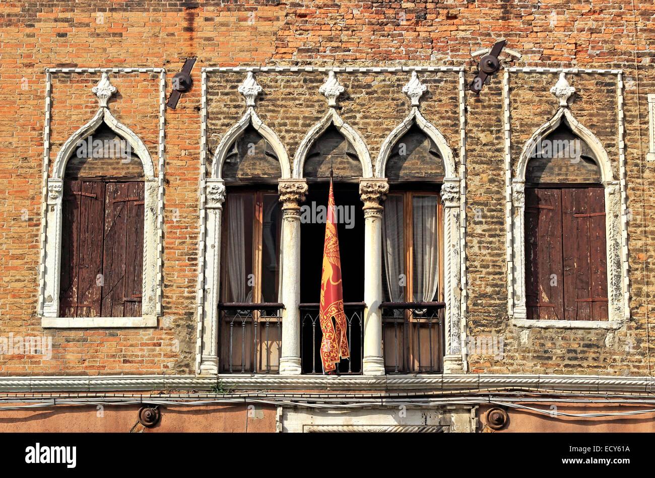 Palladian windows with Moorish influence, Murano, Venice, Veneto, Italy - Stock Image