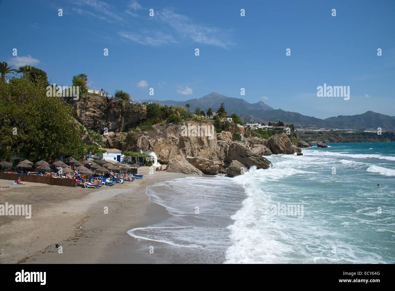 Beach Balcon de Europa, Nerja, Costa del Sol, Andalucia, Spain - Stock Image