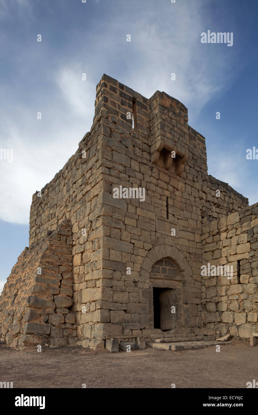 Desert castle Qasr Al-Azraq Fort, 1917 headquarters of Lawrence of Arabia during the Arab Revolt against the Ottoman - Stock Image