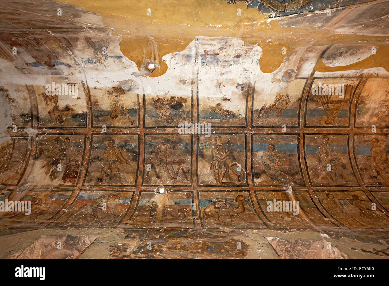 Frescoes, wall paintings, bathhouse, desert castle Qasr Amra or Qusaie Amra, Red Palace, UNESCO World Heritage Site, - Stock Image