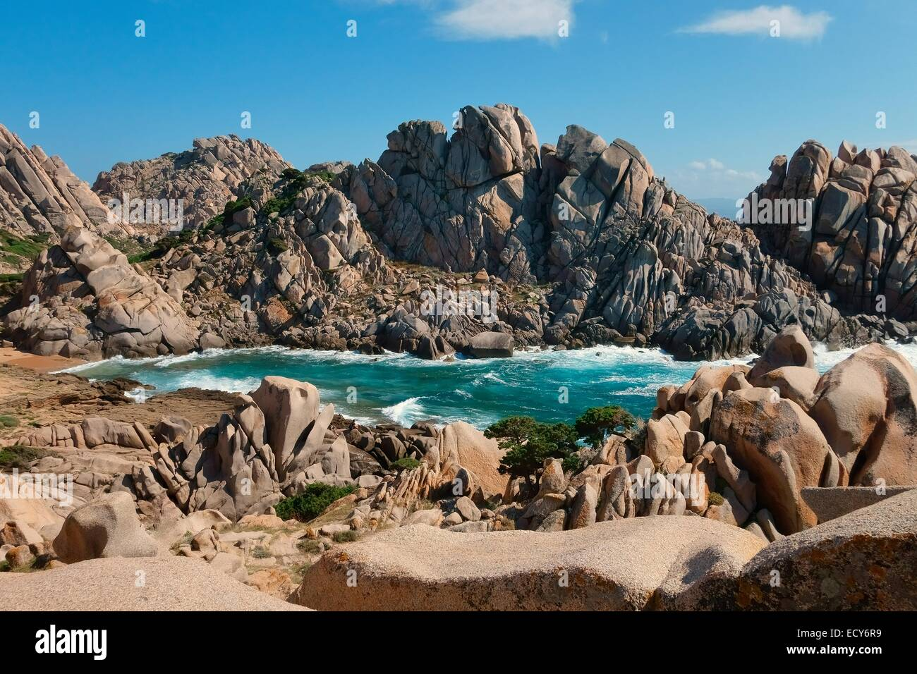 Bizarre rock formations, withered Tafoni rocks in the Valle della Luna, Capo Testa, Province of Olbia-Tempio, Sardinia, - Stock Image