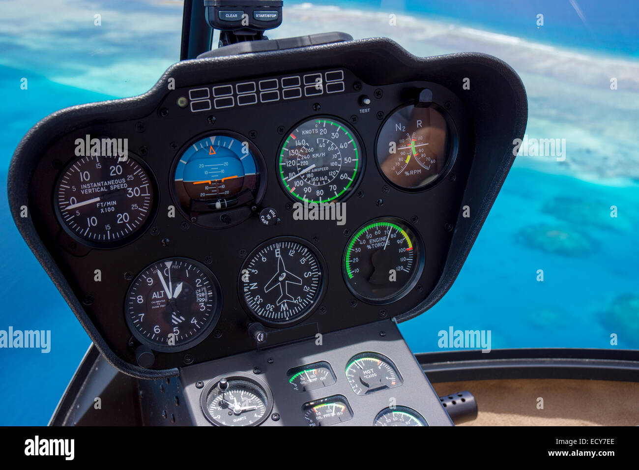 Robinson R66 helicopter, cockpit, Palau - Stock Image
