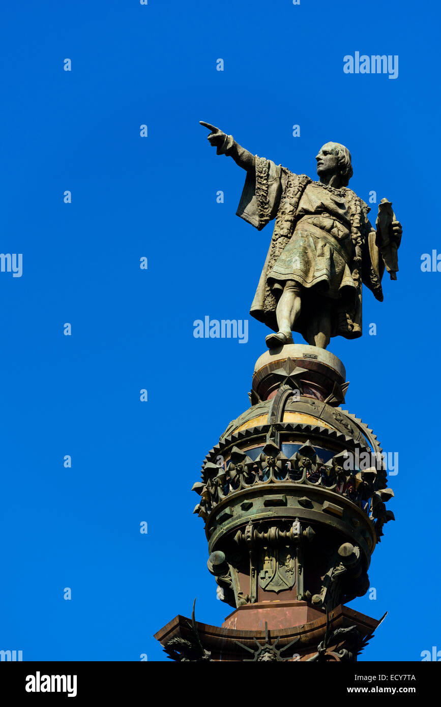 Statue of Christopher Columbus, Barcelona, ​​Catalonia, Spain - Stock Image