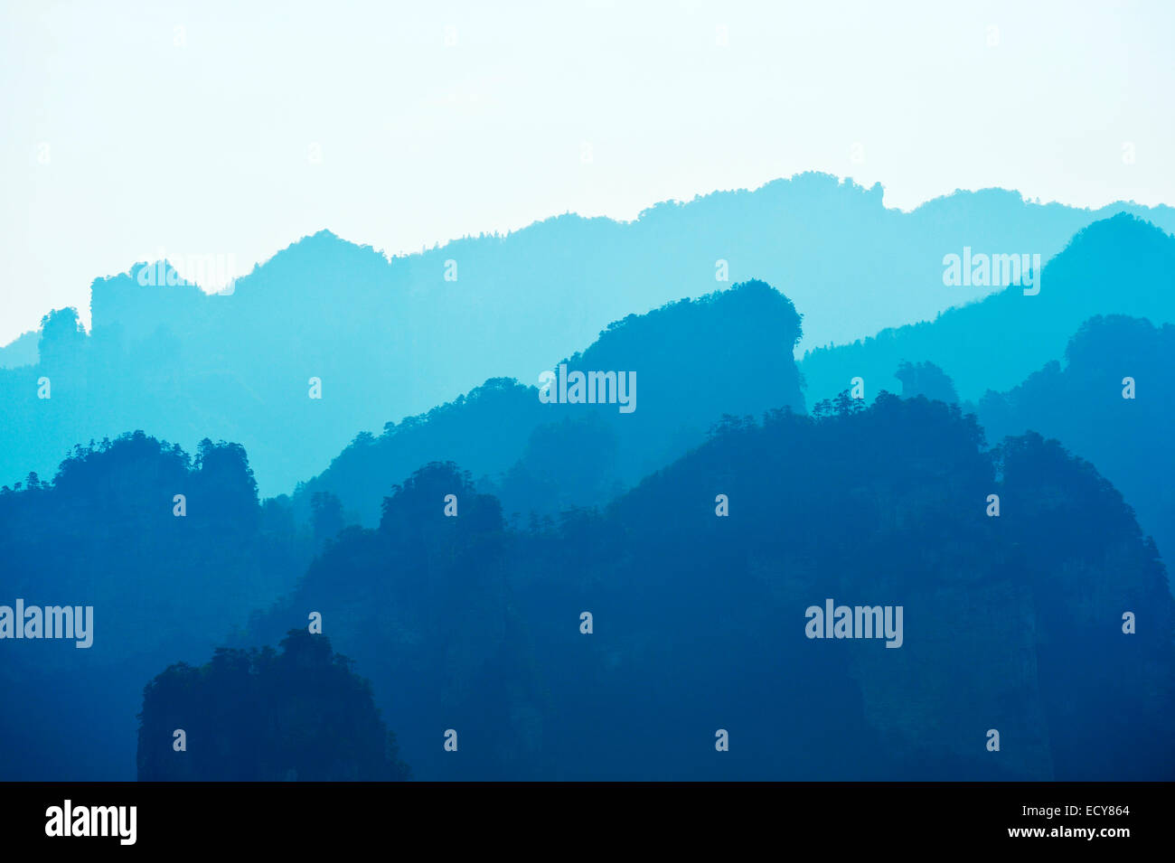 Silhouette of the 'Avatar' mountains, Zhangjiajie National Park, Hunan Province, China - Stock Image