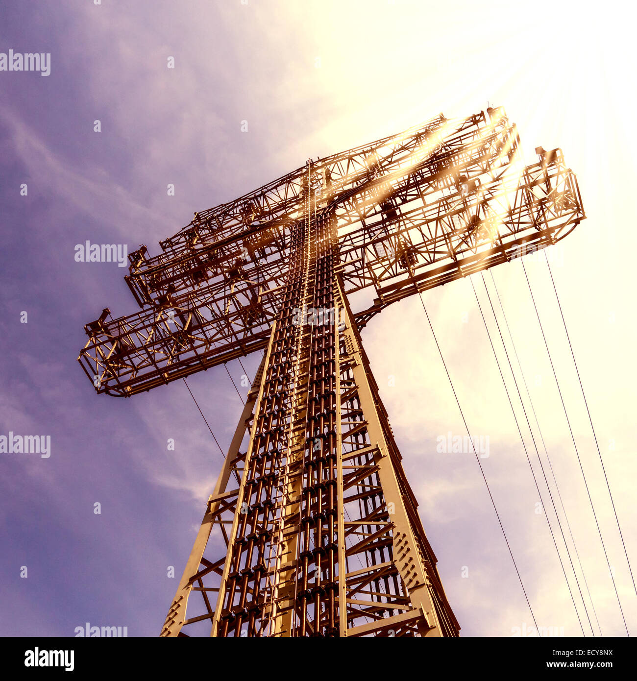 electrical tower and blue sky in summer Stock Photo