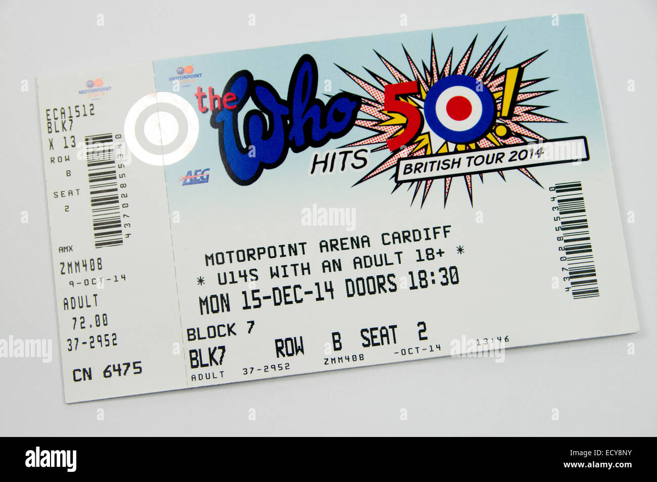 The Who 50 hits British Tour Ticket - Stock Image