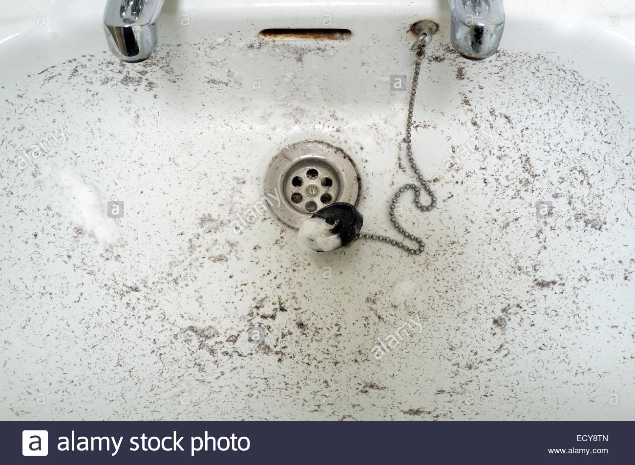 Dirty bathroom sink after a male has had a wet shave of their face, UK. - Stock Image