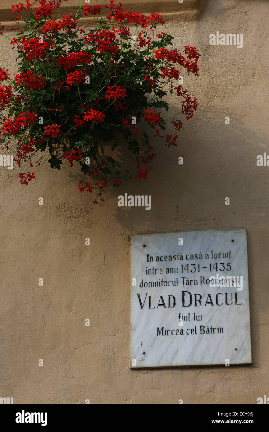 Birthplace of Vlad Tepes III Dracul in Sighisoara,Romania - Stock Image