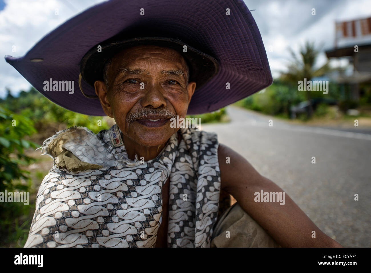 Cocoa beans collector, Sulawesi, Indonesia - Stock Image