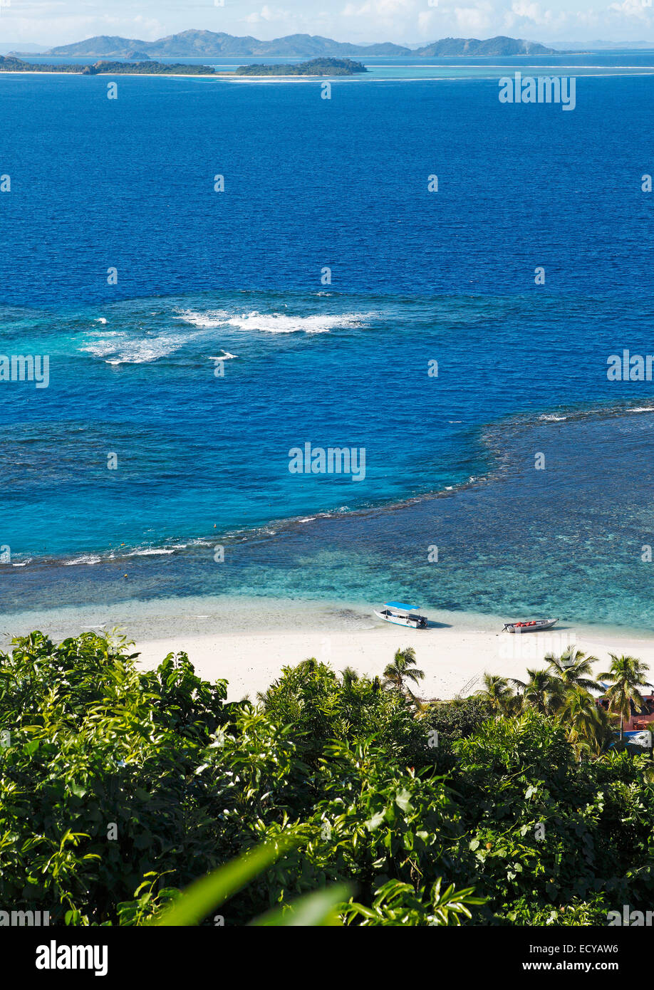 Beach, the South Seas, Matamanoa Island, Mamanuca Islands, Fiji - Stock Image