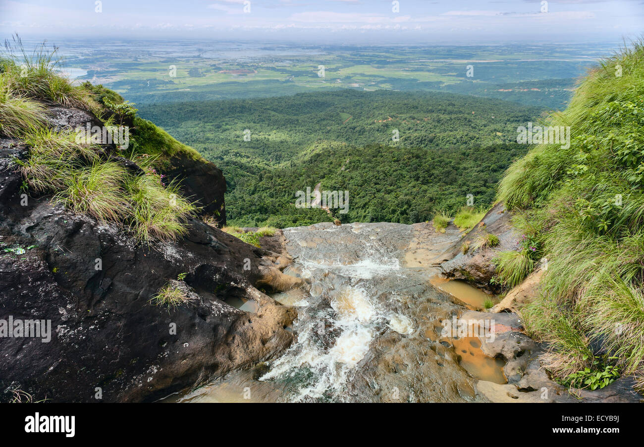 Waterfall over the Khasi Hills overlooking the road and forests of Bangladesh near Cherrapunjee, the wettest place - Stock Image