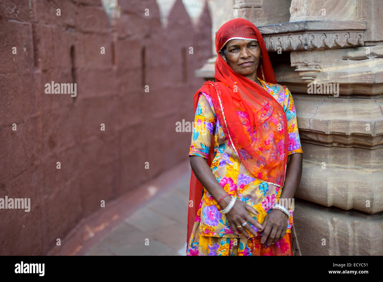 Rajasthani woman in Jodhpur's fort, India Stock Photo
