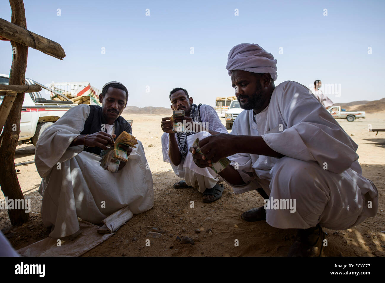 Sudanese men counting money from selling faba beans, Sudan - Stock Image
