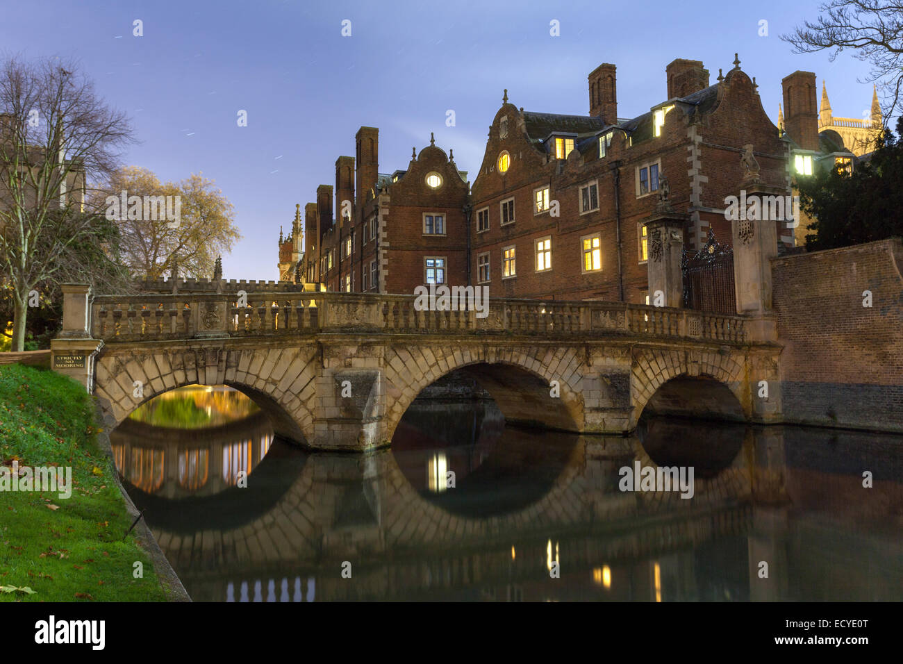 Neptune Bridge St Johns College, Cambridge University at night - Stock Image