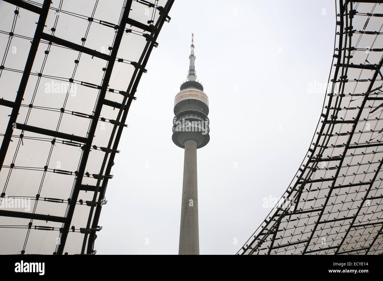 munich  olympic tower germany tv tower - Stock Image