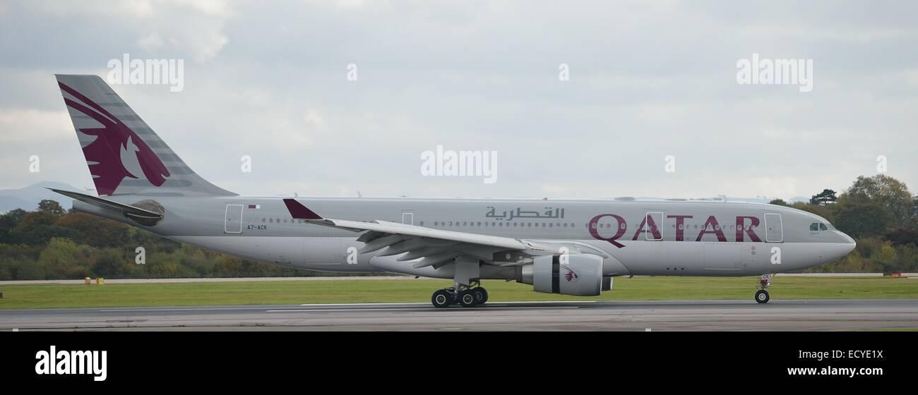 QATAR Airways aircraft at Manchester Airport - Stock Image