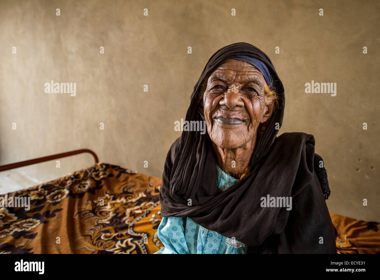 Nubian woman with scars on her face, Sudan Stock Photo