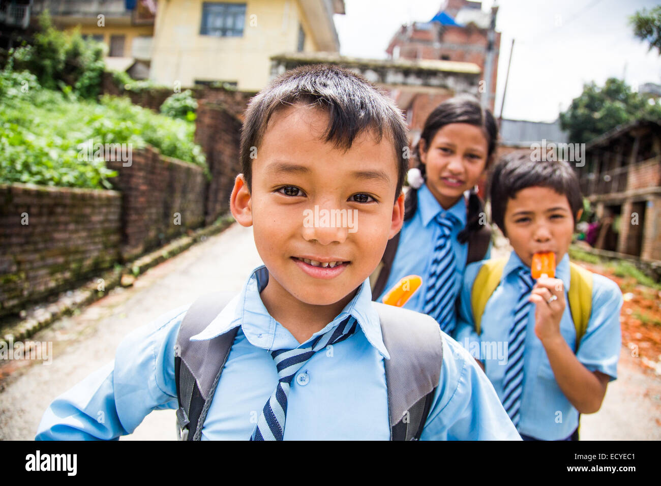 Boy in a school uniform, Kathmandu, Nepal - Stock Image