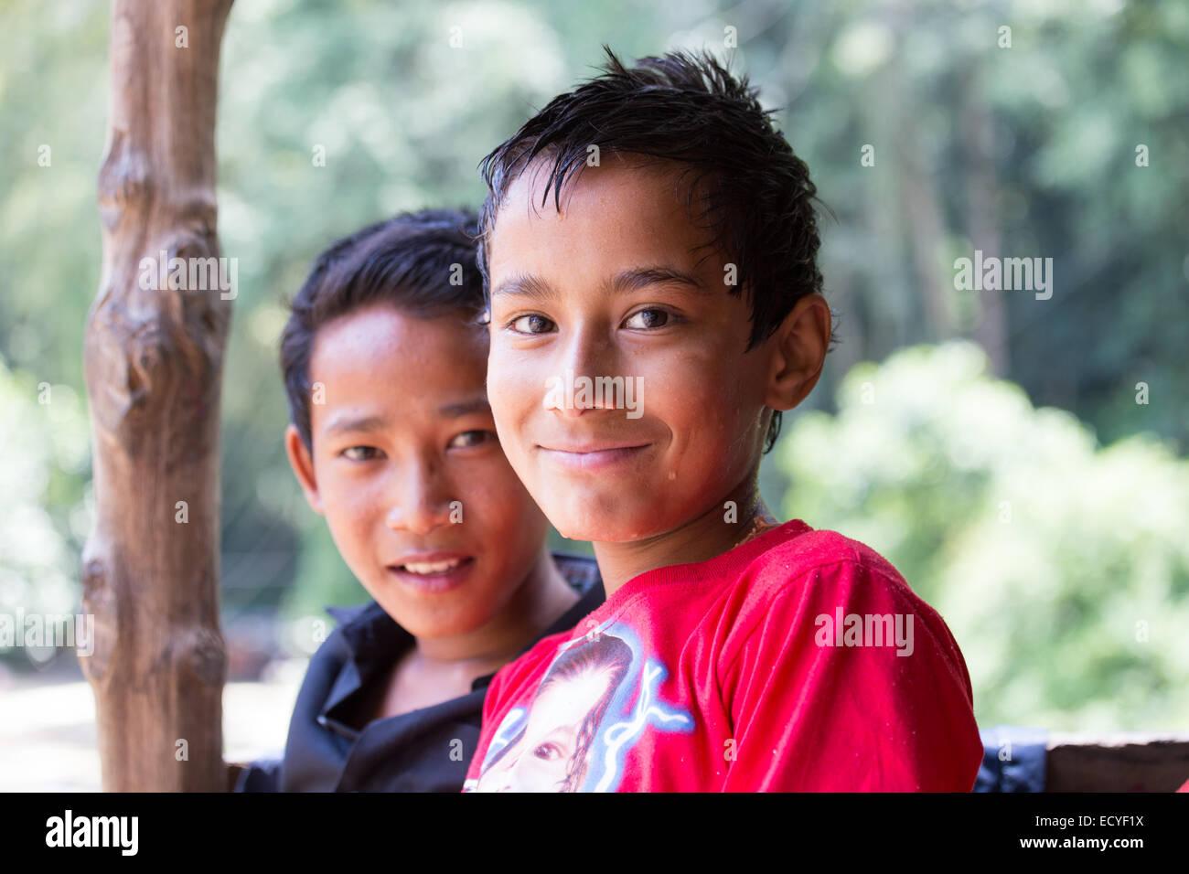 Boys in Kathmandu, Nepal - Stock Image