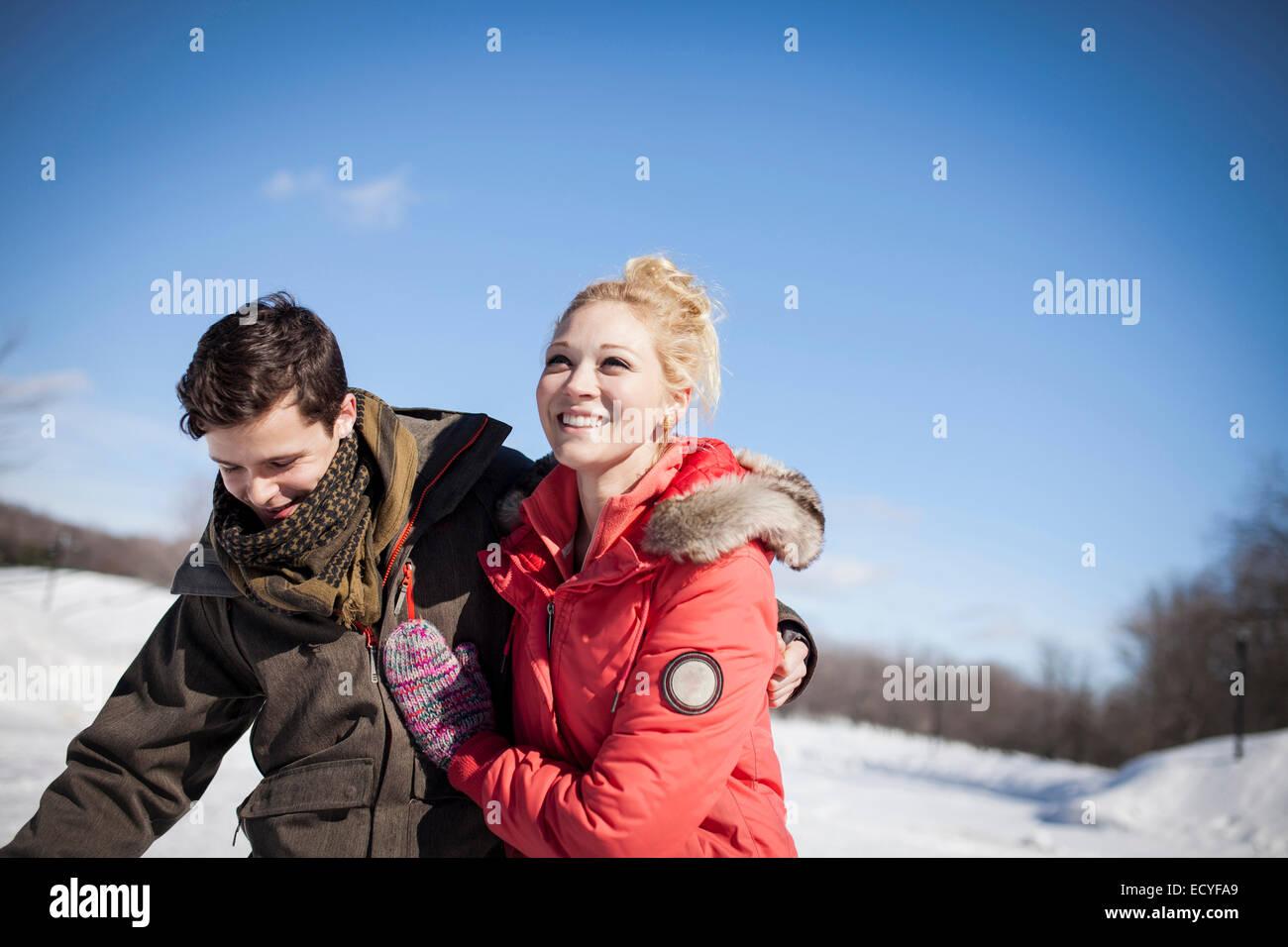 Caucasian couple in winter - Stock Image