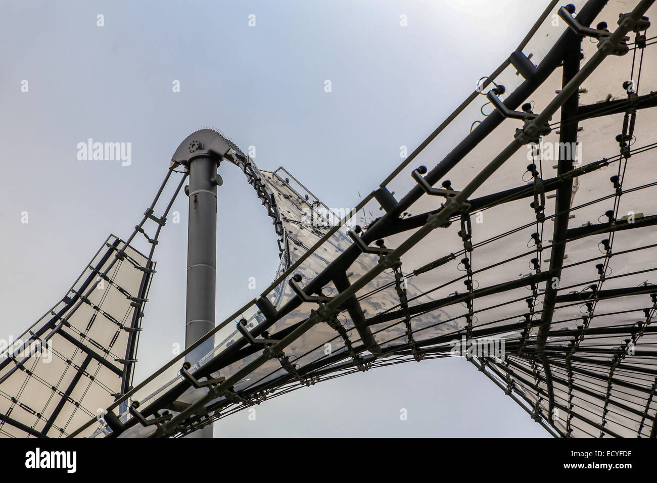 acrylic glass roof olympic park munich germany - Stock Image