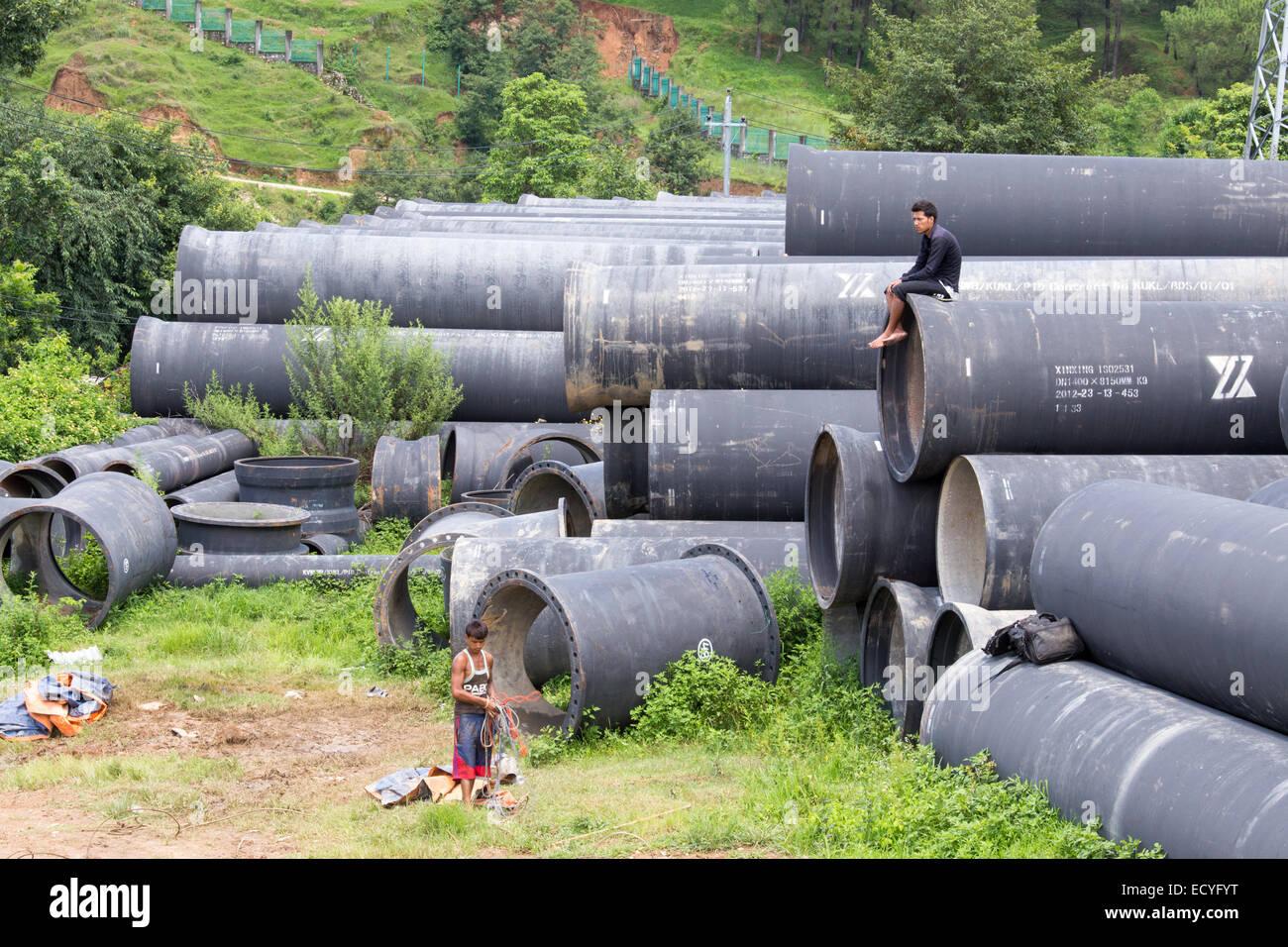 New pipeline to run water into Kathmandu Valley, Kathmandu, Nepal - Stock Image
