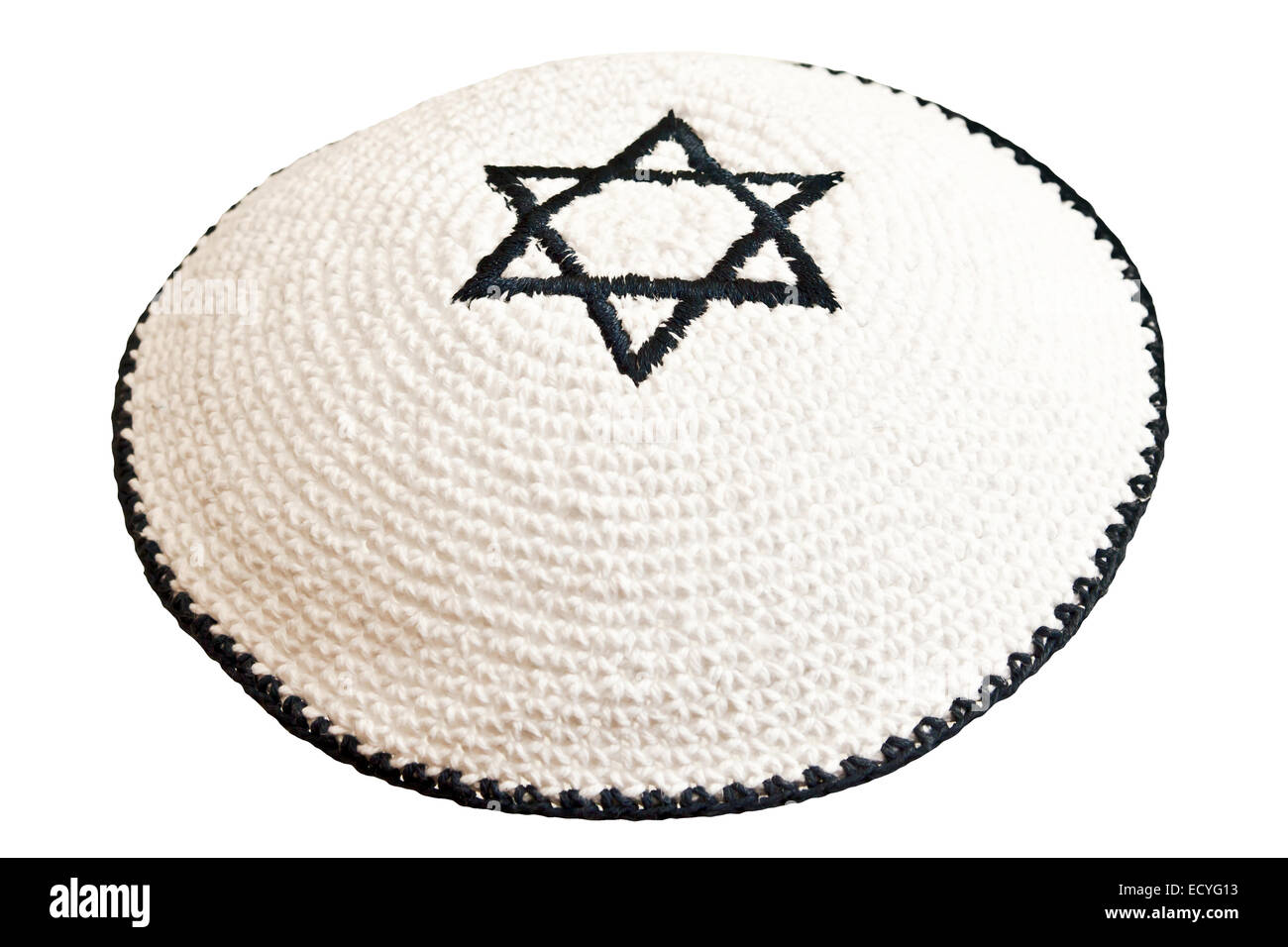 Traditional jewish headwear with embroidered star of David - Stock Image