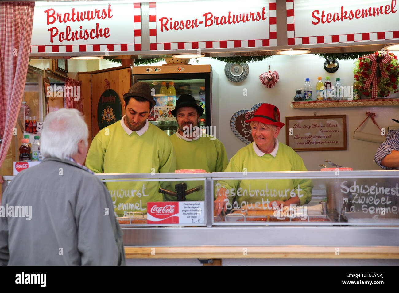 bratwurst german sausage vendor Oktoberfest festival munich germany Stock Photo