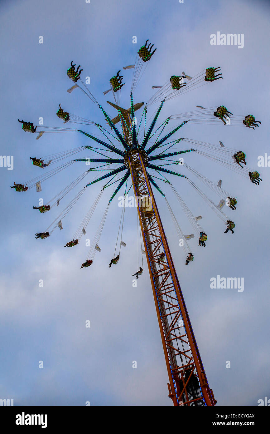 fairground ride fun swing chair thrill fun - Stock Image