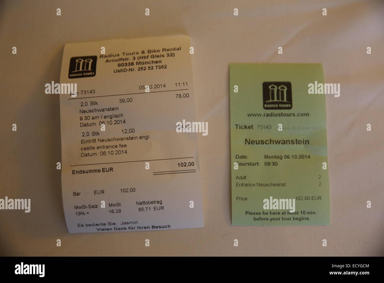 german local travel tour receipt radius tours - Stock Image