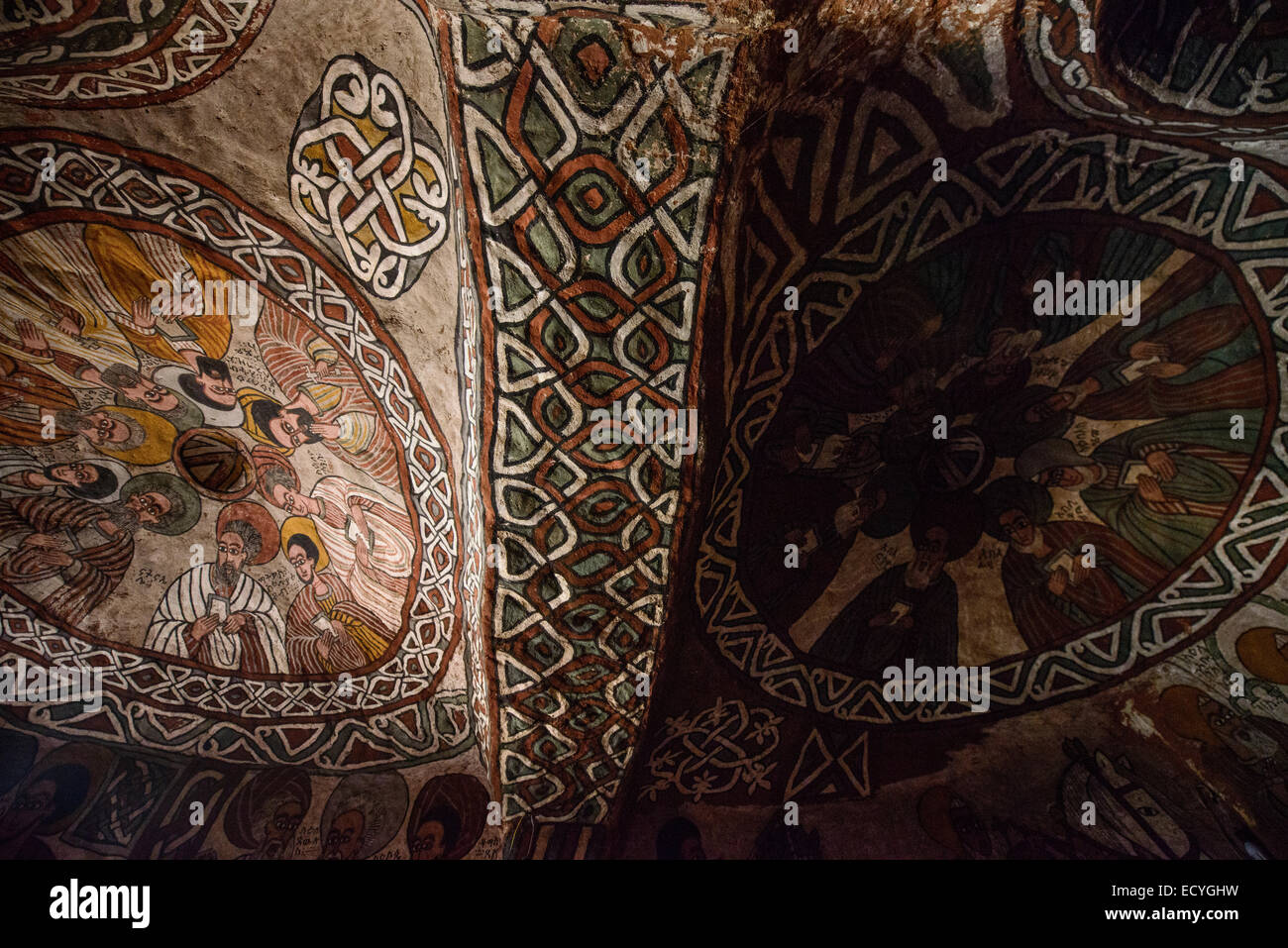 Frescoes of Abuna Yemata rock-hewn church,Tigray, Ethiopia - Stock Image