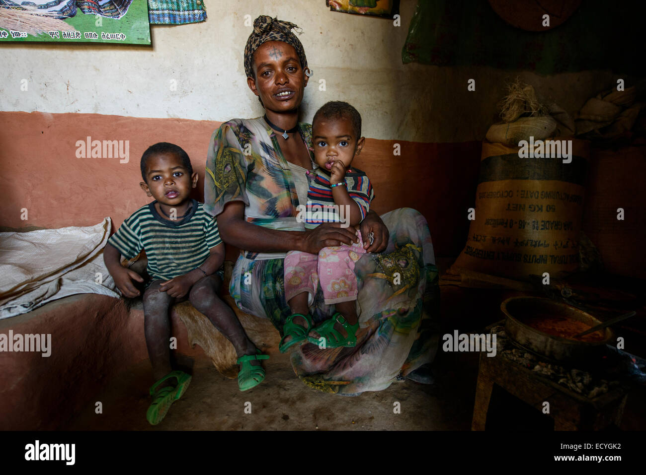Mother with her children, Tigray,Ethiopia - Stock Image