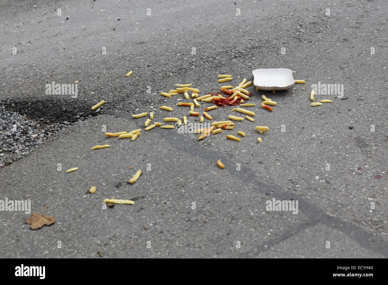 spilled drop fries ground careless waste dirty mess - Stock Image