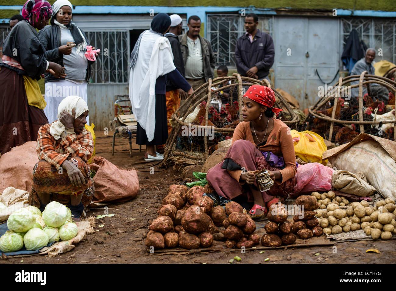 Mercato of Addis Abeba, Ethiopia - Stock Image